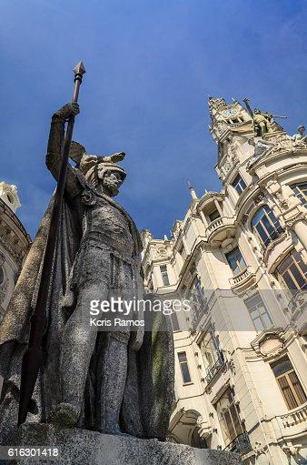 Sculpture in the square of Freedom, Porto portugal : Stock Photo