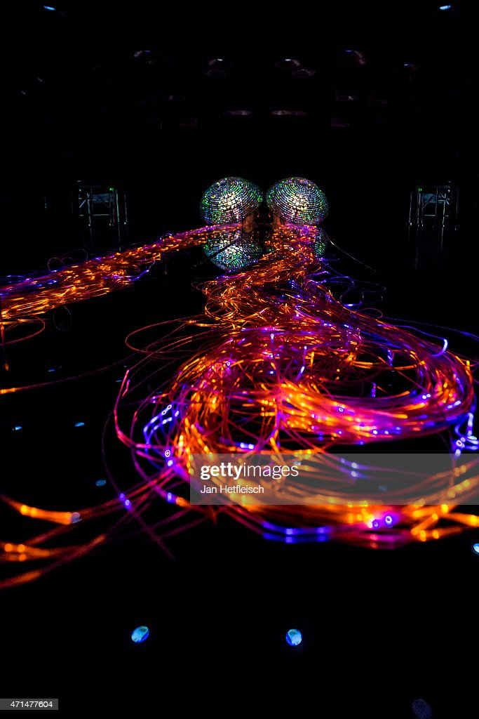 A sculpture is seen at the Swarovski Crystal Worlds inside the 'Giant' during the grand reopening on April 28 2015 in Wattens Austria The Crystal...