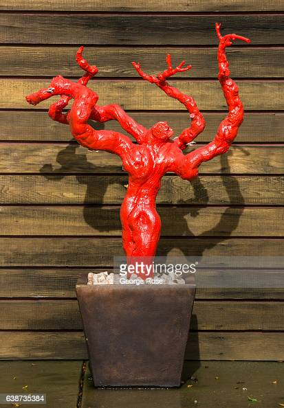 A sculpture of a grapevine is displayed at the entrance to the Laurel Glen Vineyard Tasting Room as viewed on January 11 in Glen Ellen California...