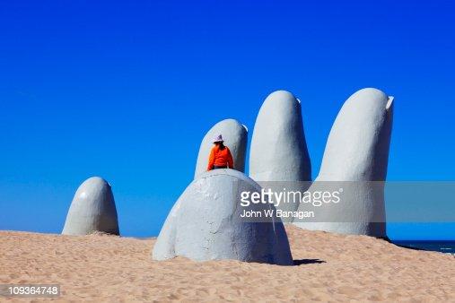 Sculpture of fingers at  Punta del Este