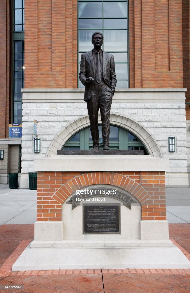 A sculpture of former Milwaukee Brewers team owner and commissioner of major league baseball Allan 'Bud' Selig sits outside Miller Park in Milwaukee...