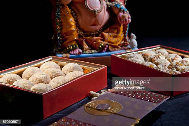 Sculpture of Ganesha with sweets , indian sweet