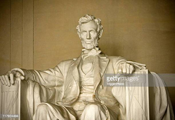 A sculpture of Honest Abe in Lincoln Memorial