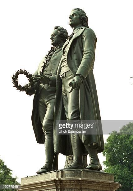 Sculpture of Johann Wolfgang von GOETHE and Friedrich von SCHILLER in Weimar