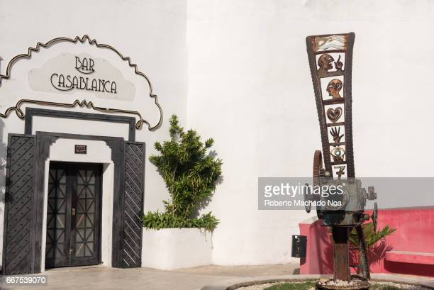 Sculpture of movie projector in the Cinema Themed Walk or boulevard in the downtown of Camaguey city 'Bar Casablanca' is a drinking establishment...