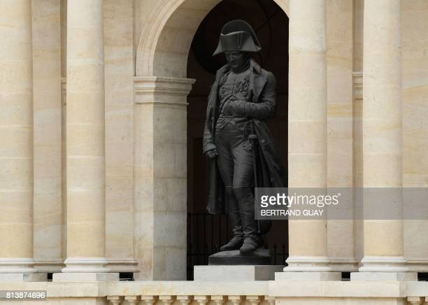 A sculpture of Napoleon Bonaparte is seen at Les Invalides in Paris on July 13 during the US president's 24hour trip that coincides with France's...