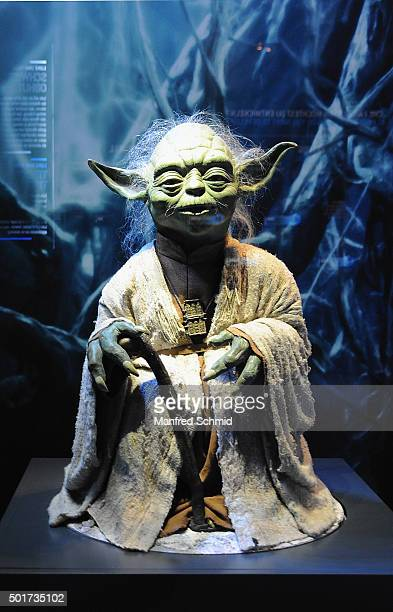 A sculpture of science fiction character 'Yoda' from the film 'Star Wars' is on display in the 'STAR WARS Identities' exhibition press conference...