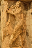 Sculpture of the Prophet Isaiah on Ste.-Marie Abbey Church in Souillac