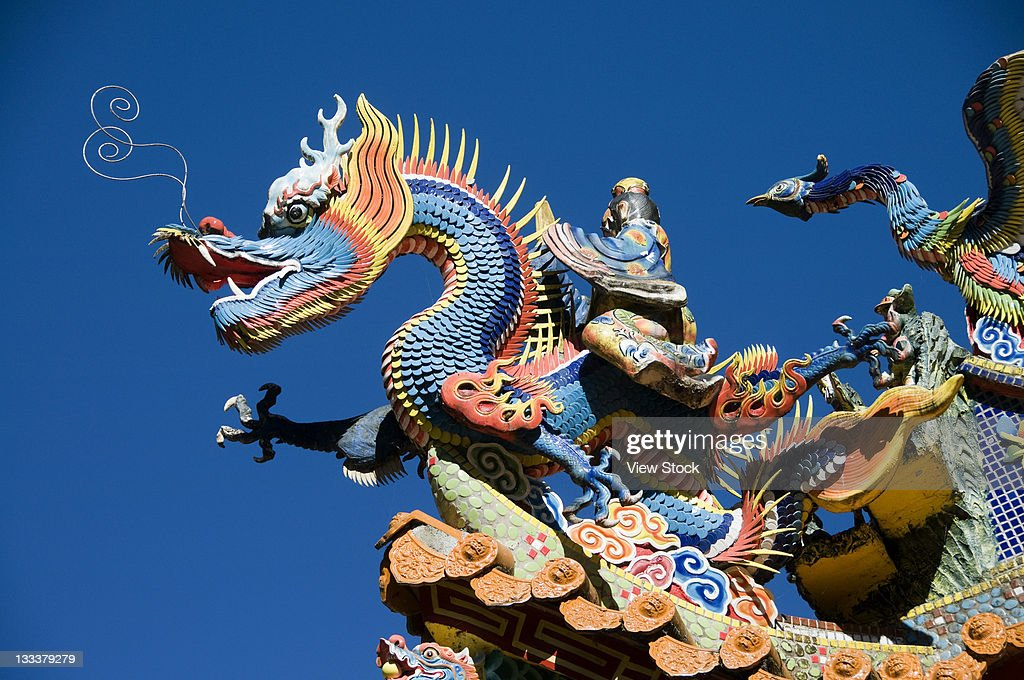 Sculpture On The Rooftop Of Temple,Taiwan,China