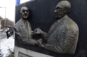 A sculpture representing the handsshaking between Charles de Gaulle and Konrad Adenauer they made as they signed the Elysee Treaty in 1963 is seen on...