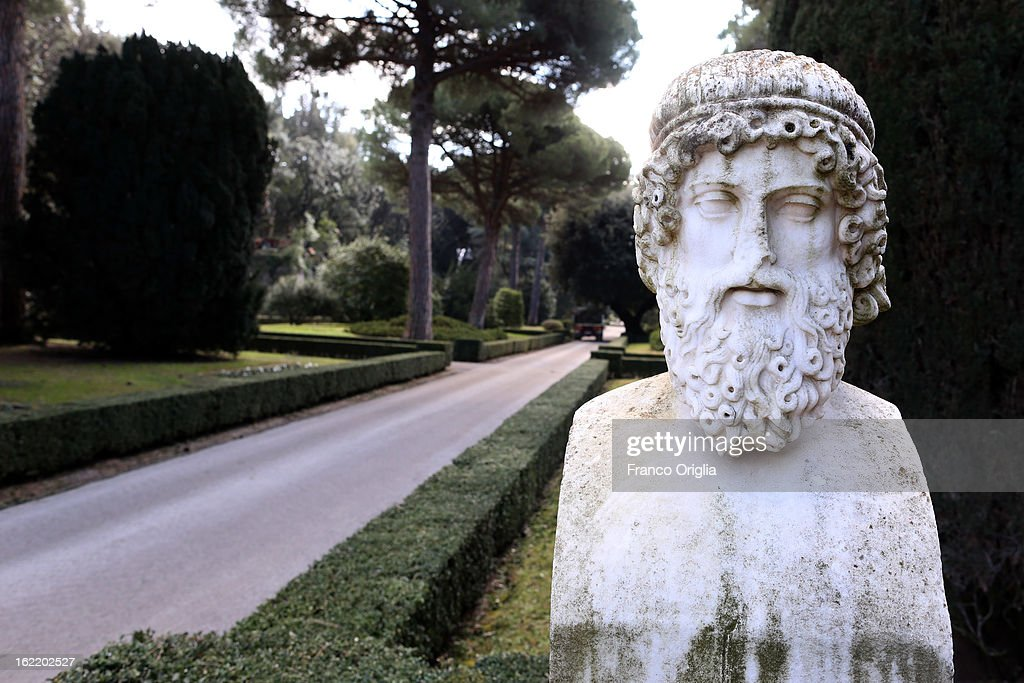 A sculpture stands in the gardens of the Pontifical residence of Castelgandolfo on February 20, 2013 in Rome, Italy. The Apostolic Palace and The Ponifical Villas of Castelgandolfo, 10 miles south Rome, are the summer residence of Popes and will host Pope Benedict XVI during the next conclave.