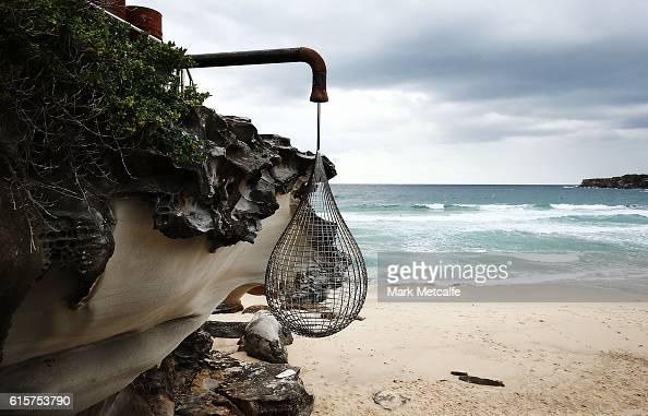 A sculpture titled Fluid is seen at Sculpture By The Sea at Tamarama Beach on October 20 2016 in Sydney Australia