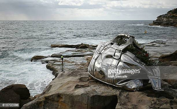 A sculpture titled Travelling Bag is seen at Sculpture By The Sea at Bondi Beach on October 20 2016 in Sydney Australia