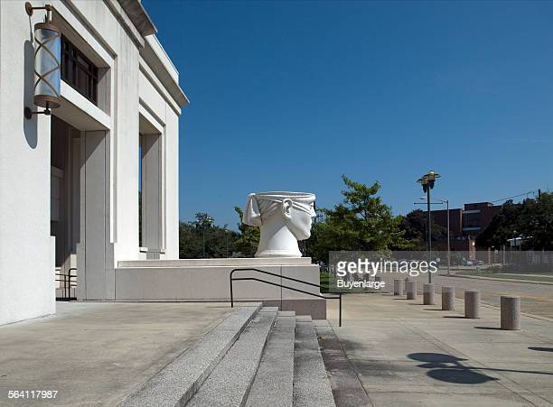 Sculpture Urns of Justice at exterior entrance plinith of the John M Shaw US Courthouse Lafayette Louisiana