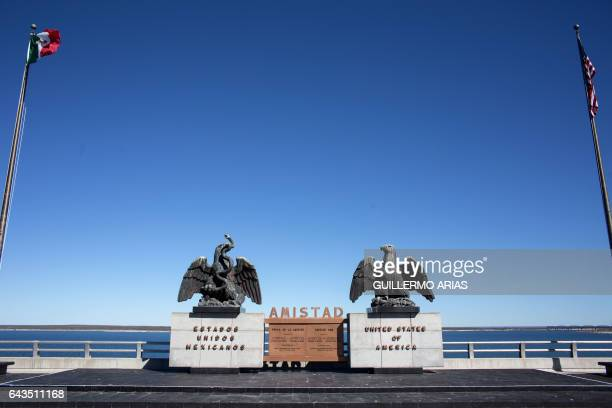 Sculptures are seen on the international boundary at Amistad Reservoir on the US/Mexico border near Ciudad Acuna on February 21 2017 northern Mexico...