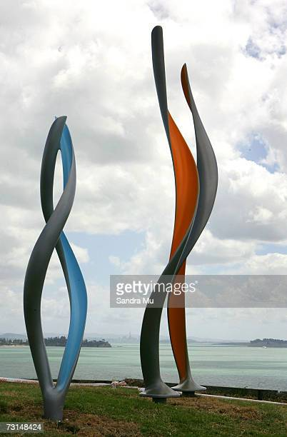 Sculptures by local artists are displayed on the hillside of Waiheke Island January 30 2007 in Auckland New Zealand Sculptures On The Gulf is a...