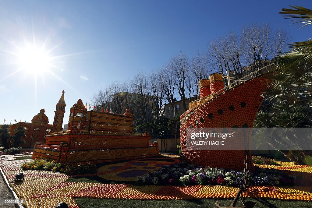 Sculptures decorated with oranges and lemons are pictured in Menton on the French Riviera on February 11, 2016, ahead of the start of the 'Fete du Citron' (Lemon Festival). The theme of this 83rd edition, running from February 13 until March 2, 2016, is called 'Cinecitta'. / AFP / VALERY HACHE