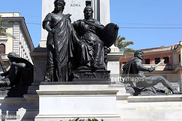 Sculptures in front of the Justice Palace that host the 'Corte di Cassazione' during the final session to judge former Italian Prime Minister Silvio...