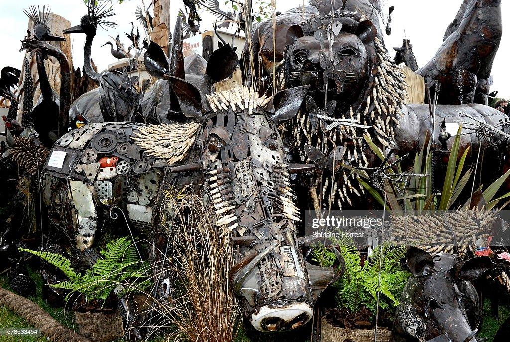 Sculptures of a warthog made of metal and spark plugs during the RHS Flower Show at Tatton Park on July 21 2016 in Knutsford England