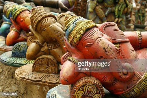 Sculptures of Hindu elephant-faced deity Ganesha