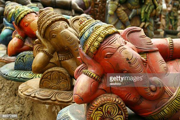 Sculptures of Hindu elephant-faced deity Ganesha