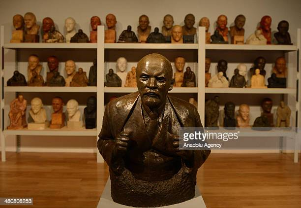 Sculptures of Lenin displayed during the 'Legendary Leaders' sculpture exhibition at the State History Museum in Moscow the capital of Russia on...