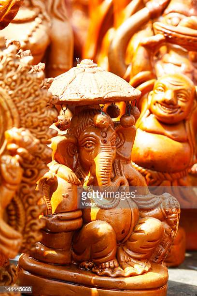 Sculptures of miniature figurines of Lord Ganesh