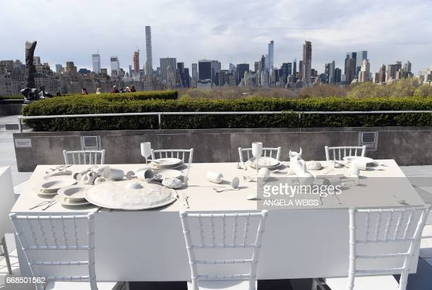 Sculptures of 'The Roof Garden Commission Adrian Villar Rojas The Theater of Disappearance' are seen at the Metropolitan Museum of Art on April 14...