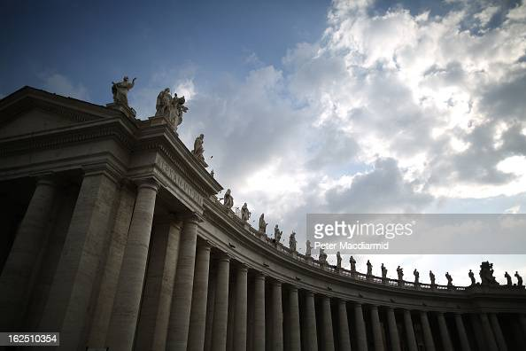 Sculptures on top of the Colonnades in St Peter's Square on February 24 2013 in Vatican City Vatican The Pontiff will hold his last weekly public...