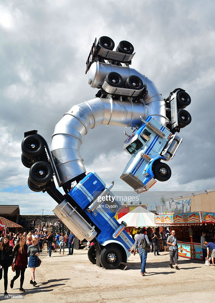 A sculture by Mike Ross, entitled 'Big Rig Jig', is displayed, as Banksy's Dismaland Bemusement Park opens to the public, on August 28, 2015 in Weston-Super-Mare, England. Graffiti artist Banksy has opened the subversive, pop-up theme park styled exhibition at the derelict seafront Tropicana lido, featuring the work of 50 artists. The 'Bemusement Park' combines dark humour and 'entry-level anarchism' and will open for just five weeks.