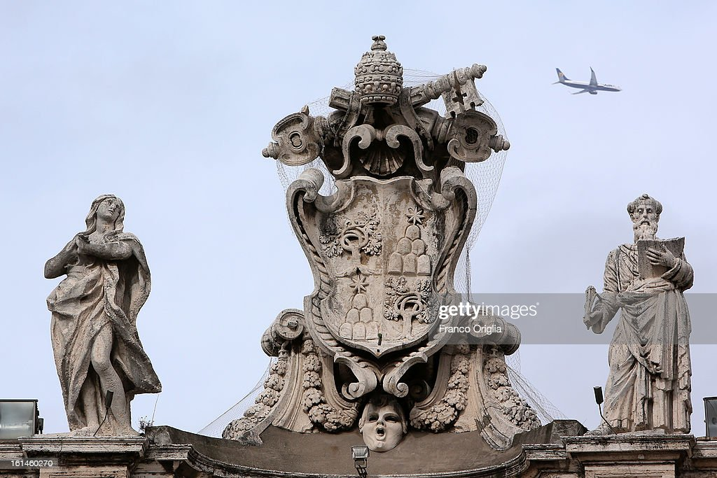 Scultures on the colonnade overlooking St. Peter's Square on February 11, 2013 in Vatican City, Vatican. Pope Benedict XVI today announced that he is to retire on February 28 citing age related health reasons.