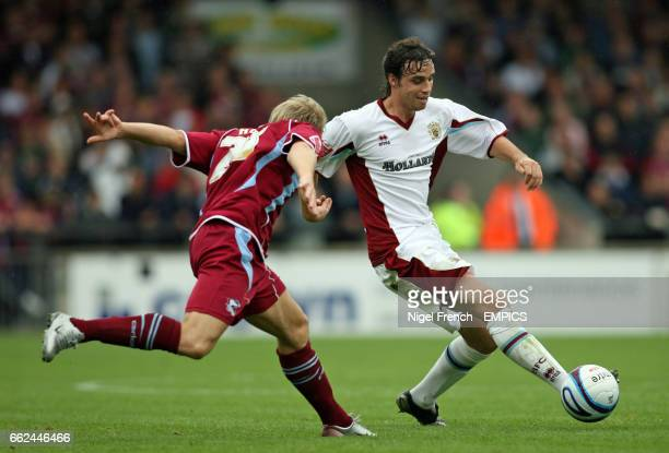 Scunthorpe United's Kevan Hurst and Burnley's Michael Duff