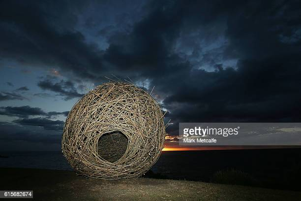 A scuplture entitled 'The Golden Hour' is seen during Sculpture By The Sea at Bondi Beach on October 20 2016 in Sydney Australia