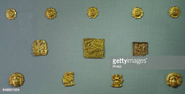 Scythian burial tumulus of KulOba Plaques Goddess with the Mirror and Scythian Head of Maenad Rosette Sea Dragon Griffin Sphinx Pegasus and...