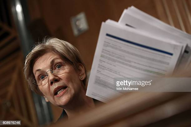 Se Elizabeth Warren questions John Stumpf chairman and CEO of the Wells Fargo Company during a hearing of the Senate Banking Housing and Urban...