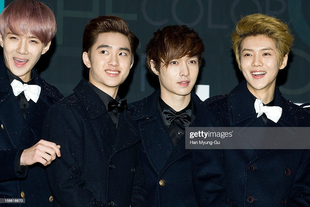 Se Hun, D.O. of boy band EXO-K, Lay and Lu Han of boy band EXO-M arrive at the 2012 SBS Korea Pop Music Festival named 'The Color Of K-Pop' at Korea University on December 29, 2012 in Seoul, South Korea.