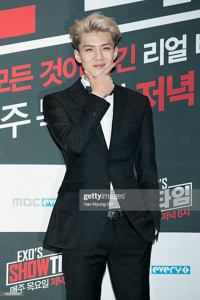 Se Hun of boy band EXOM attends the MBC Every1 'EXO's ShowTime' press conference at CVG on November 28 2013 in Seoul South Korea The program will...