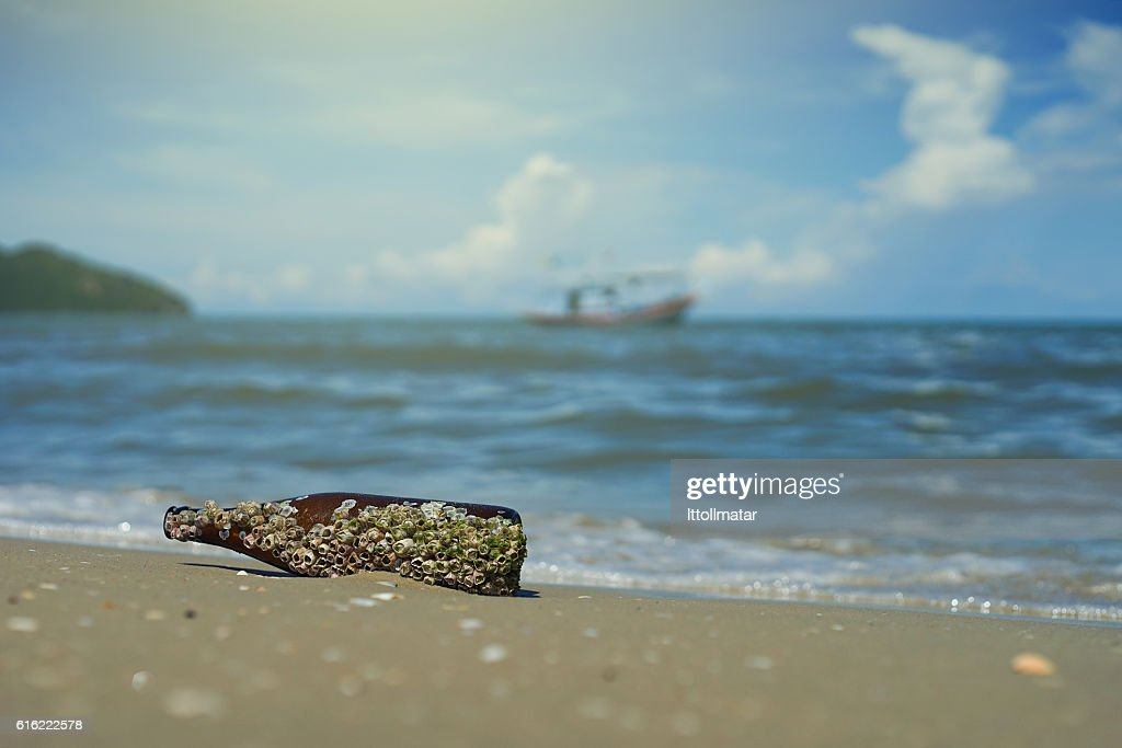 sea acorn colony on bottle dumped pollute at  beach : Stock-Foto