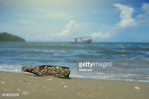 sea acorn colony on bottle dumped pollute at  beach : Stock Photo