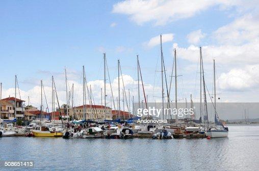 Sea bay with yachts : Stock Photo