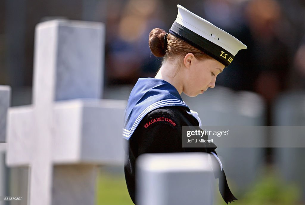 A sea cadet attends a service at a war graves cemetery to mark the Battle of Jutland on May 28, 2016 in South Queensferry,Scotland. The event begun a weekend of commemoration leading up to the anniversary on 31 May and 1 June to mark the centenary of the largest naval battle of World War One where more than 6,000 Britons and 2,500 Germans died in the Battle of Jutland.