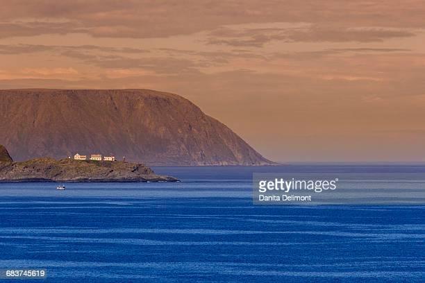 Sea coast at sunset, Knivskjellodden, North Cape, Honningsvag, Norway