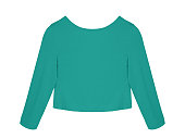 Sea color turquoise short blank blouse sweater with long sleeves isolated white