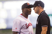 Sea Dogs Manager Carlos Febles yells at a referee after calling a ball instead of a strike during the game against the New Hampshire Fishercats at...