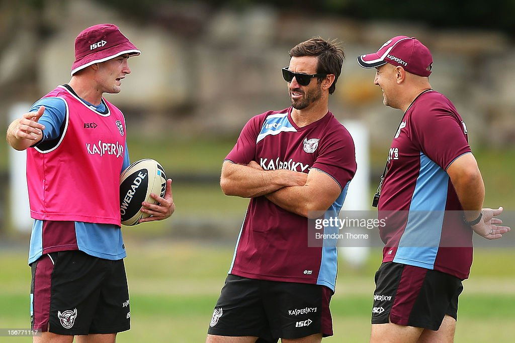 Sea Eagles assistant coach <a gi-track='captionPersonalityLinkClicked' href=/galleries/search?phrase=Andrew+Johns&family=editorial&specificpeople=206309 ng-click='$event.stopPropagation()'>Andrew Johns</a> speaks with Kieran Foran during a Manly Sea Eagles NRL pre-season training session at Sydney Academy of Sport on November 21, 2012 in Sydney, Australia.