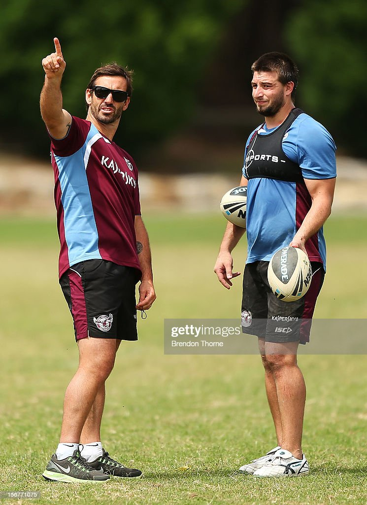 Sea Eagles assistant coach Andrew Johns speaks with Liam Foran during a Manly Sea Eagles NRL pre-season training session at Sydney Academy of Sport on November 21, 2012 in Sydney, Australia.