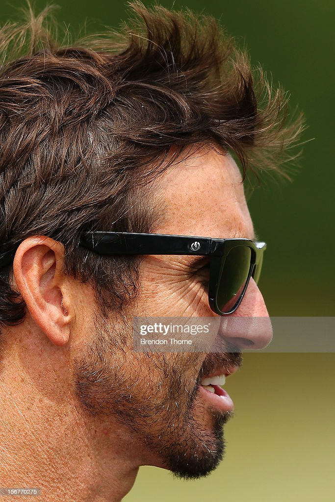 Sea Eagles assistant coach <a gi-track='captionPersonalityLinkClicked' href=/galleries/search?phrase=Andrew+Johns+-+Rugby+League+Player&family=editorial&specificpeople=15866159 ng-click='$event.stopPropagation()'>Andrew Johns</a> speaks with the media following a Manly Sea Eagles NRL pre-season training session at Sydney Academy of Sport on November 21, 2012 in Sydney, Australia.