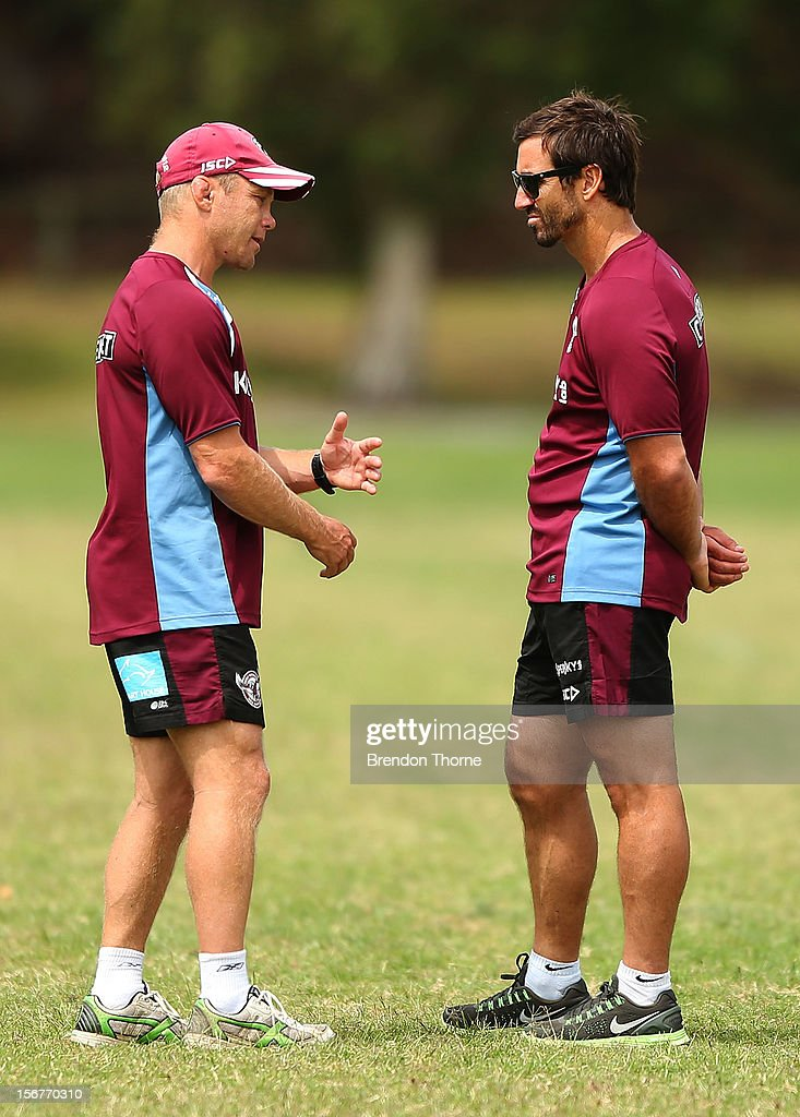Sea Eagles coach Geoff Toovey and assistant coach Andrew Johns talk during a Manly Sea Eagles NRL pre-season training session at Sydney Academy of Sport on November 21, 2012 in Sydney, Australia.