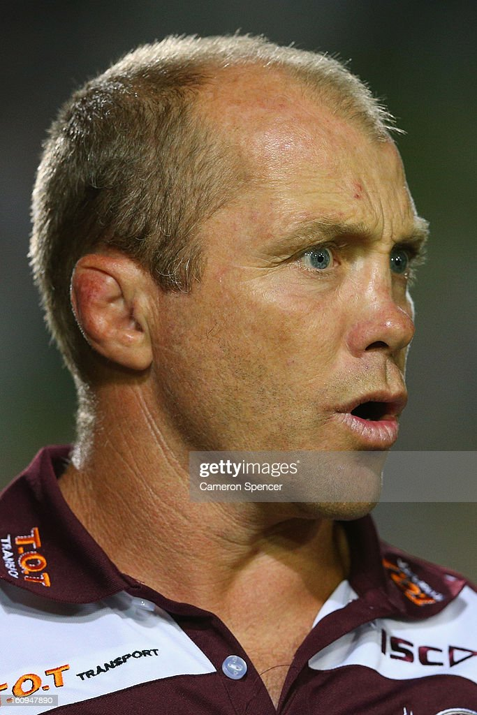 Sea Eagles coach Geoff Toovey talks to players during the NRL trial match between the Manly Sea Eagles and the Cronulla Sharks at Brookvale Oval on February 8, 2013 in Sydney, Australia.