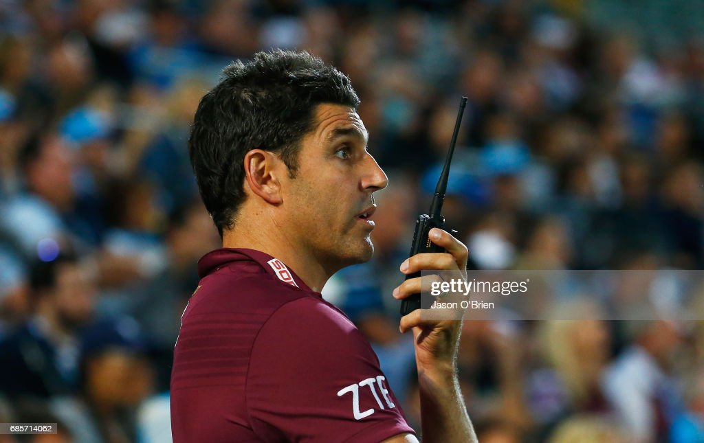 Sea Eagles coach Trent Barrett during the round 11 NRL match between the Gold Coast Titans and the Manly Sea Eagles at Cbus Super Stadium on May 20, 2017 in Gold Coast, Australia.